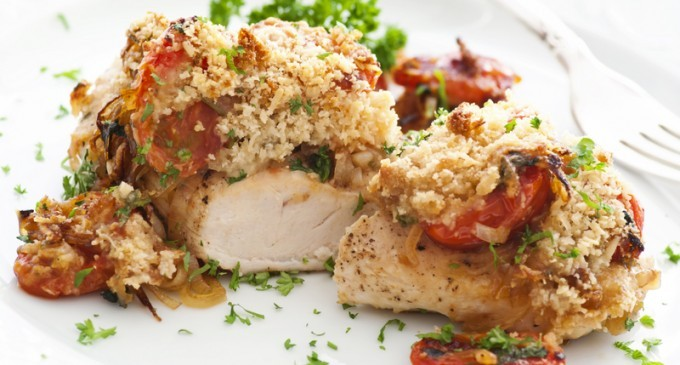 Parmesan Chicken With Roasted Sun Dried Tomatoes Garlic