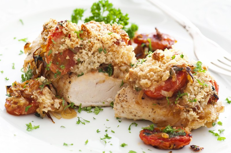 Parmesan chicken with roasted sun dried tomatoes garlic for Dry roasted tomatoes