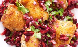 Crispy Chicken Thighs With a Fresh Cherry Salsa