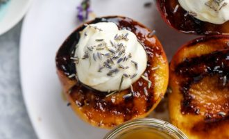 Lavender Whipped Ricotta Over Grilled Peaches