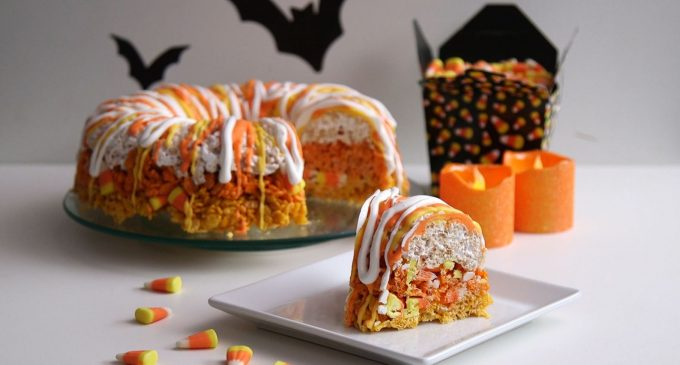 Candy Corn Krispie Cake Will Make Any Halloween Party Festive