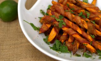 Bacon Wrapped Sweet Potato Fries Are Our New Addiction